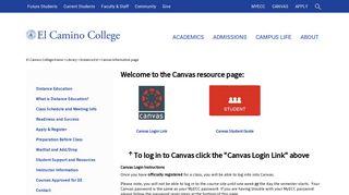 Canvas Information page - El Camino College
