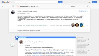 Remove account from sign-in page - Google Product Forums