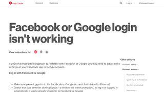 Facebook or Google login isn't working | Pinterest help