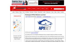Redesigned HPIbet Website Launched | Standardbred Canada