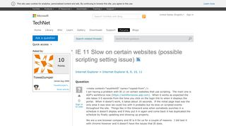 IE 11 Slow on certain websites (possible scripting setting issue ...