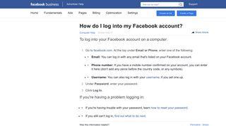 How do I log into my Facebook account? | Facebook Ads Help Center