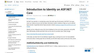 Introduction to Identity on ASP.NET Core   Microsoft Docs