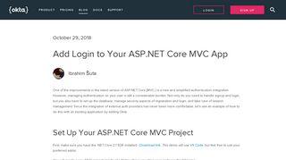 Add Login to Your ASP.NET Core MVC App   Okta Developer