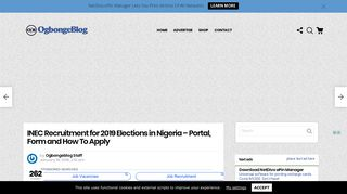 INEC Recruitment for 2019 Elections in Nigeria – Portal, Form and ...