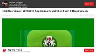 INEC Recruitment 2018/2019 Application Registration Form ... - Opera