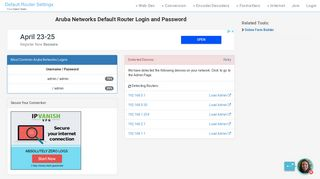 Aruba Networks Default Router Login and Password - Clean CSS