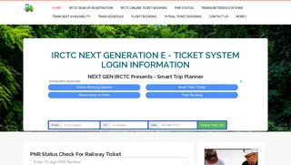 NEXTGEN IRCTC.CO.IN Login Next Generation E-Ticket System ...