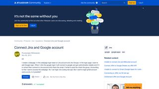 Solved: Connect Jira and Google account - Atlassian Community