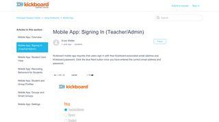 Mobile App: Signing In (Teacher/Admin) – Kickboard Support Center