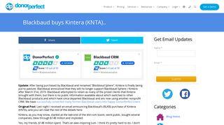Blackbaud buys Kintera (KNTA).. - DonorPerfect