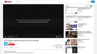 PHP Tutorials: Register & Login (Part 6): Error Handling - YouTube