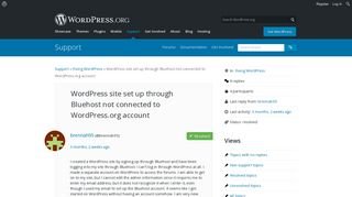 WordPress site set up through Bluehost not connected to WordPress ...