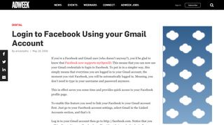 Login to Facebook Using your Gmail Account – Adweek