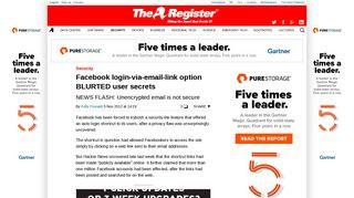 Facebook login-via-email-link option BLURTED user secrets • The ...