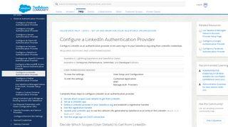 Configure a LinkedIn Authentication Provider - Salesforce Help