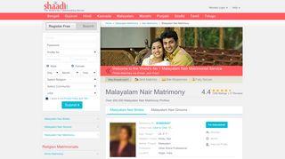 Malayalam Nair Matrimonials - No 1 Site for Malayalam ... - Shaadi.com