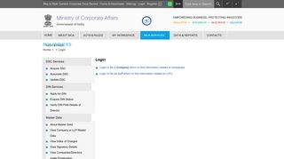 Ministry Of Corporate Affairs - Login