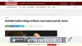 McNally Smith College of Music can't make payroll, closes ...