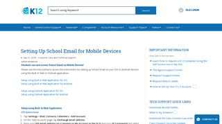 Setting Up School Email for Mobile Devices - K12 Customer Support