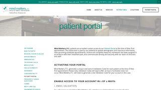 PATIENT PORTAL — Mind Matters, P.C.