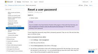 Reset a user password - Partner Center | Microsoft Docs