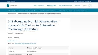 MyLab Automotive with Pearson eText -- Access Code Card
