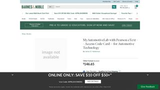MyAutomotiveLab with Pearson eText -- Access Code Card -- for ...