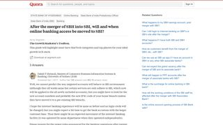 After the merger of SBH into SBI, will and when online banking ...