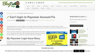 Can't login to Payoneer Account Fix - BlogTechTips