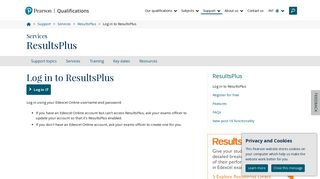 Log in to ResultsPlus   Pearson qualifications