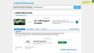 perk.brio.co.in at WI. Login Page - Website Informer