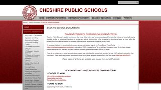 Back to School Documents - Cheshire Public Schools