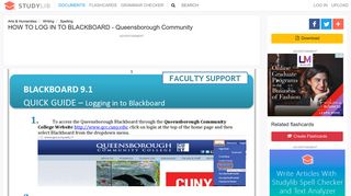 HOW TO LOG IN TO BLACKBOARD - Queensborough Community
