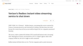 Verizon's Redbox Instant video streaming service to shut down | Reuters