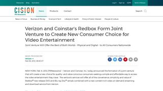 Verizon and Coinstar's Redbox Form Joint Venture to Create New ...