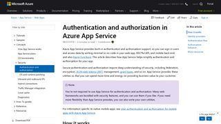 Authentication and authorization - Azure App Service | Microsoft Docs