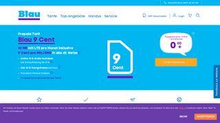 Prepaid Blau 9-Cent: Nur zahlen, was Sie verbrauchen