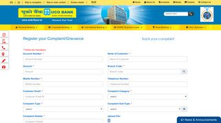 UCO Bank : Custome Grievance