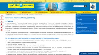 UCO Bank- customer-grievance-policies