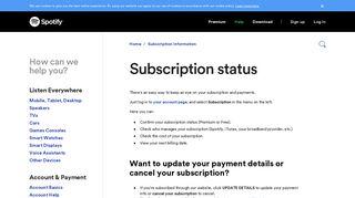 Subscription status - Spotify