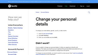 Change your personal details - Spotify