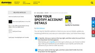 View Your Spotify Account Details - dummies