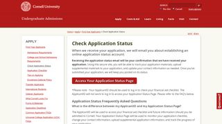 Check Application Status | Undergraduate Admissions