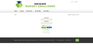 H&R Block Budget Challenge > Login
