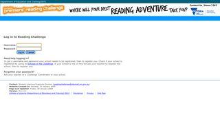Premier's Reading Challenge - Login