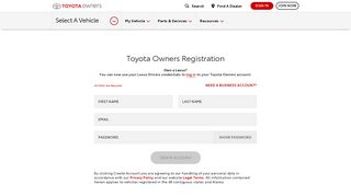 Toyota Owners Registration