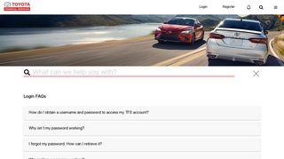 Login FAQs | Toyota Financial