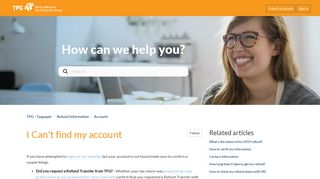 I Can't find my account – TPG - Taxpayer