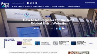 How to Re-Register for the New Global Entry Website - The Points Guy